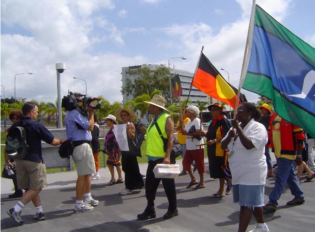Manifestation de soutien à Palm Island, Townsville, Australie, décembre 2004