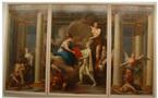 Clément-Louis Belle, <em>La Convention nationale donne à la France des lois républicaines</em>, 1792-1793, Vizille, Musée de la Révolution, huile sur toile, tryptique partie centrale : 3,56x2,26m; parties latérales, 3,56x1,72m